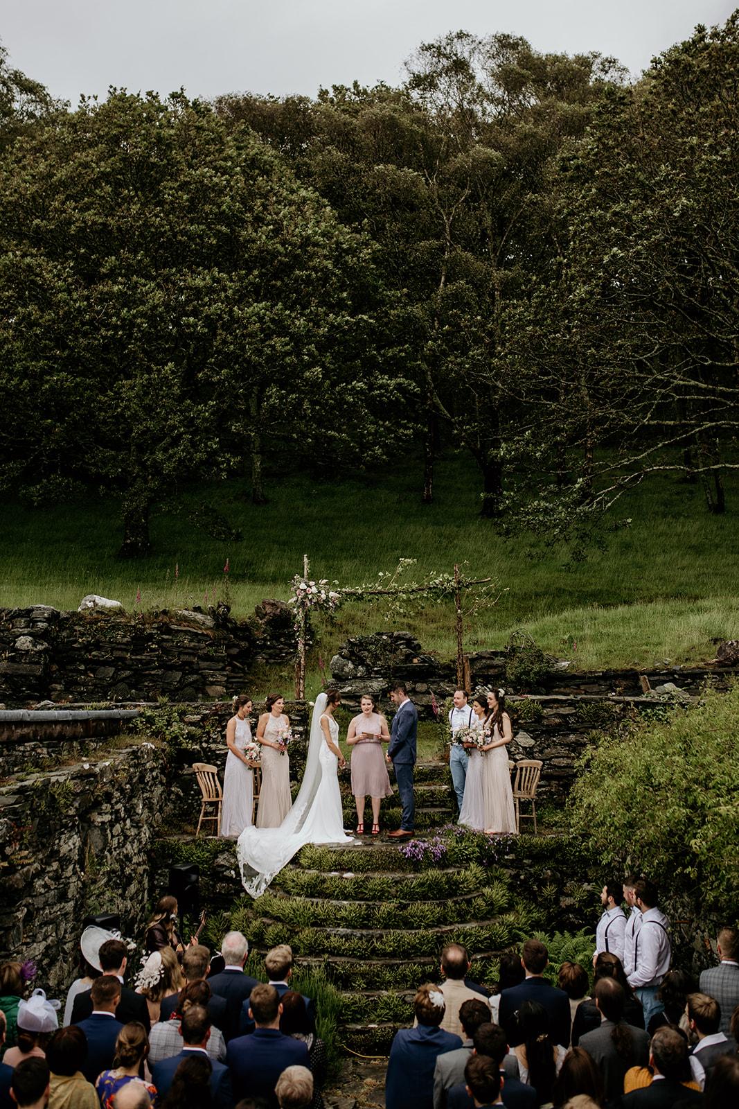 Outdoor humanist ceremony wedding photographer Wales